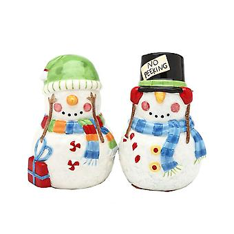 No Peeking Snowmen Couple Christmas Winter Holiday Salt and Pepper Shaker Set
