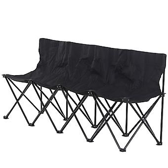 Outsunny 4-Seater Chair Bench w/ Metal Frame Camping Chair Folding Portable w/ Carry Case Black