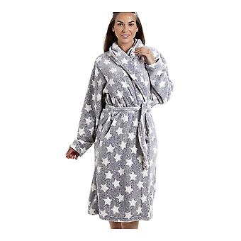 Camille Grey Supersoft Velour Fleece White Star Print Shawl Collar Bathrobe