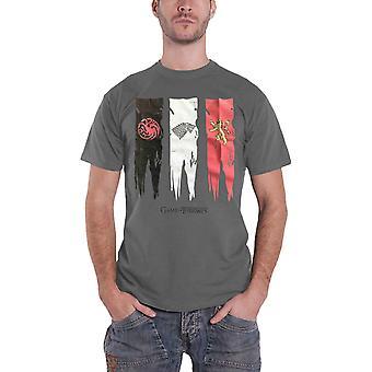 Spiel der Throne T Shirt Haus Sigille Flaggen Logo neuen offiziellen Mens grau