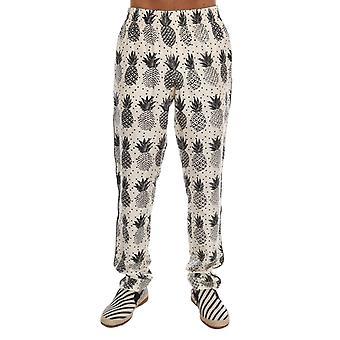 Dolce & Gabbana Blanco Ananas Impresión Pantalones Pajama