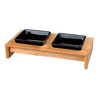 Trixie Set Ceramic and Wood Feeders for Dogs 2 x 0.4 L