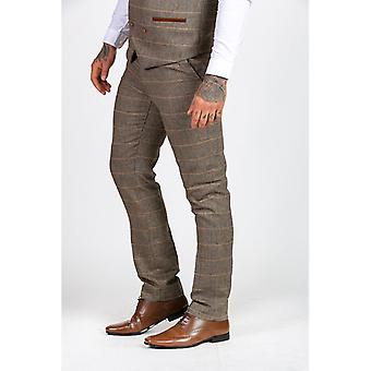 Marc Darcy TED Tweed Haringgraat Broek met Tonale Check - Tan