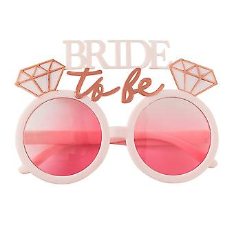 Bride To Be Hen Party Fun Sunglasses Rose Gold Pink Tinted Lenses
