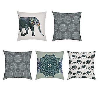 Gardenista Koristeellinen Puutarha tyynynpäälliset 45x45 cm | 5 PAKKAUS | Vedenpitävä ulkouima tyynynpäällinen set | Pehmeä vedenkestävä kangas kestävyys | Intian Elephant Collection puutarhat