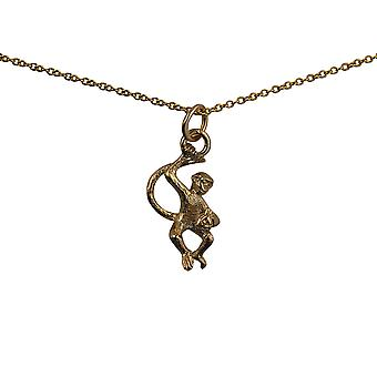 9ct Gold 22x12mm Monkey with Banana Pendant with a cable Chain 20 inches