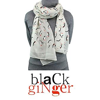 Black Ginger Scarf with Pretty Penguin Design