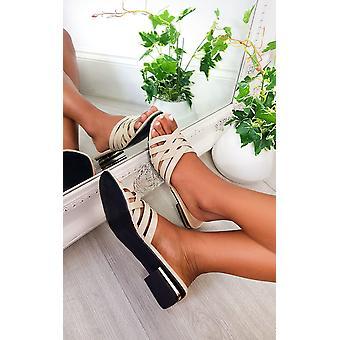 IKRUSH Womens Lennon Patent Slip On Sandals