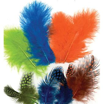 Feathers, Marabou & Guinea Fowl, Assorted Mix, Neon