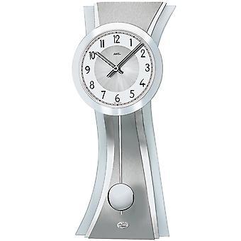 AMS 7268 wall clock kvartsi heiluri hopea moderni svengaava heilurin kellosta lasi