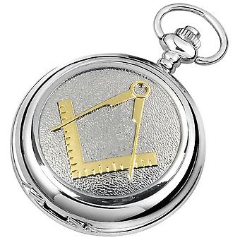 Woodford Masonic Chrome Plated Full Hunter Quartz Pocket Watch - Silver/Gold