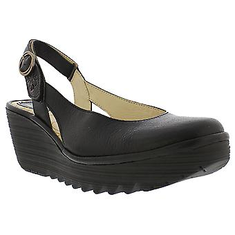 Womens Fly London Ylux Mousse Leather Wedge Slingback Closed Toe Shoes