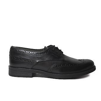 Geox Agata J3449C musta nahka tytöt pitsi ylös Brogue Koulun kengät
