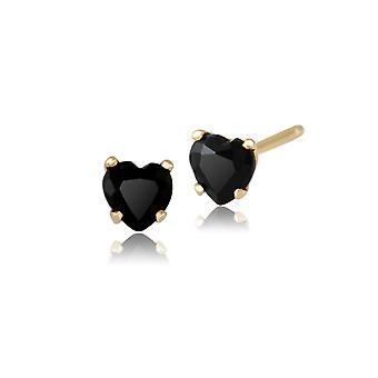 القلب الكلاسيكي أسود الأقراط مسمار الينيكس في 9ct الأصفر الذهب 4mm 181E0735069