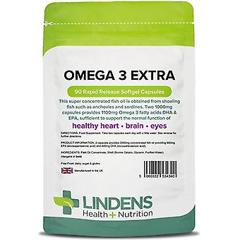 Lindens Omega 3 Fish Oil Extra Capsules 90 (4340)