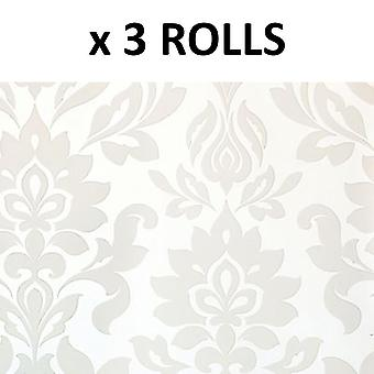 Laura Ashley Hampstead White Floral Wallpaper Pearlescent Cream Flower Vinyl
