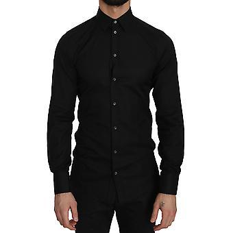Dolce & Gabbana Zwart Katoen GOUD Slim Dress Formeel Shirt