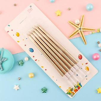 Cakelove 6 Pcs Golden Long Pencil Cake Candle - Safe Flames Kids Birthday Party / Wedding Cake Candle