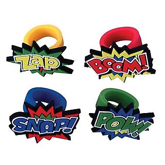 12 Rubber Superhero Ring Party Favours