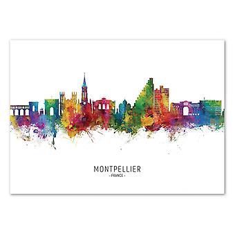 Art-Poster - Montpellier France Skyline (Colored Version) - Michael Tompsett