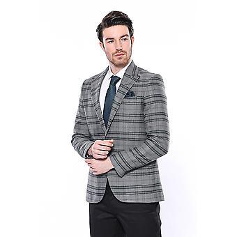 Slim-fit checked green blazer