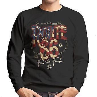 Route 66 US Flag Text Men's Sweatshirt