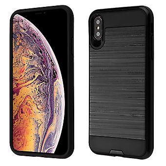 Custodia Asmyna Brushed Hybrid Protector per iPhone XS Max - Nero/Nero