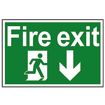 Scan Fire Exit Running Man Arrow Down - PVC 300 x 200mm SCA1503