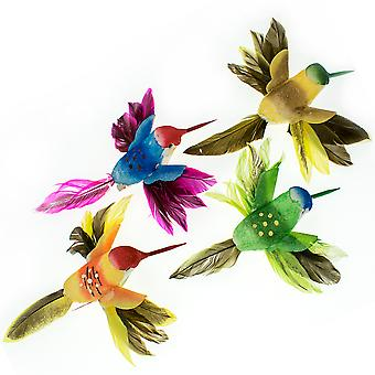 Single Small Feathered Hummingbird Clip On Decoration