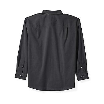 Essentials Men's Big & Tall Long-Sleeve Solid Shirt fit by DXL, Black,...