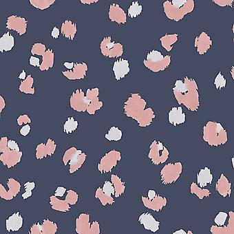 Amur Leopard Print Wallpaper Navy/Pink Holden 91071