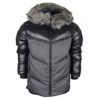 883 Police Buzz Puffer Hooded Fur Black Jacket