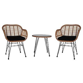 Homemiyn 3 Pcs Patio Rattan Table And Chair Set