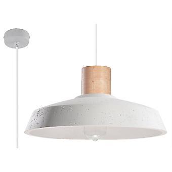 1 Lichte Koepel plafond hanger wit, natuurlijk hout, E27