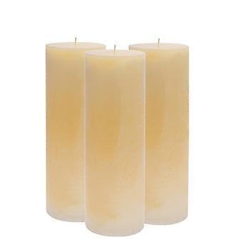 Vanille duftende einzelne Wick Säule Kerze 300x95mm. 215hrs Brennzeit - Packung mit 3