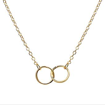 Double Copper Ring Pendant Clavicle Chain