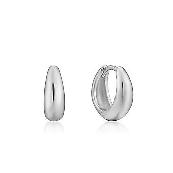 Ania Haie Luxe Minimalism Rhodium Luxe Huggie Hoop Earrings E024-03H