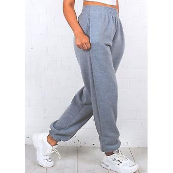 Pantalon taille haute taille haute taille surdimensionné Gris