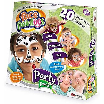 Face paintoos party pack, temporary face paint tattoos, for age 4 years and up-