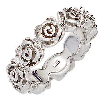 Kvinnors Ring Rosor 925 Sterling Silver Rodium Silver Ring