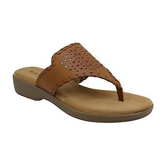 Rialto Womens Benicia Leather Split Toe Casual Slide Sandals