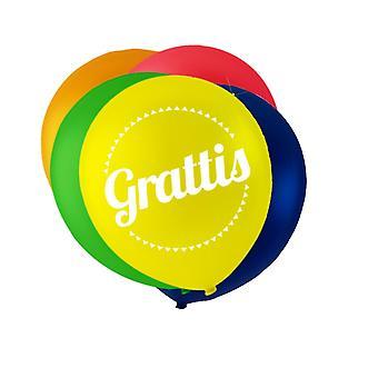 Ballonger i blandade färger med texten 'Grattis'