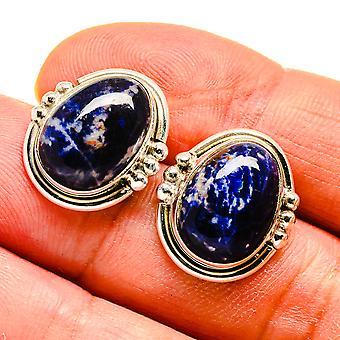 """Sodalite Earrings 3/4"""" (925 Sterling Silver)  - Handmade Boho Vintage Jewelry EARR408166"""