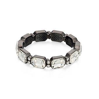 Fiorelli Mode Klar Kristall Gunmetal Pläterad Stretch Armband