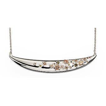Elements Silver Women's Sterling Silver Multi Colored Cubic Zirconia Curved Bar Collier de longueur 46cm N4026
