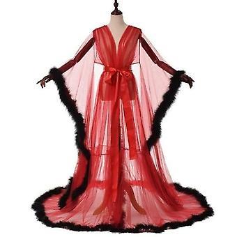 مثير الوهم طويل الملابس الداخلية روب Nightgown حمام ثوب النوم ريشة