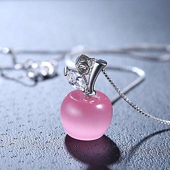 Sterling Silver Woman Fashion-jewelry High-quality Pink Opal Apple-shape