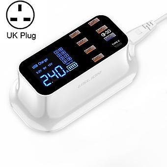 USLION PD18W Laturi QC Moniporttinen USB Smart Digital Power Strip LED Screen Digitaalinen näyttö Laturi UK Pistoke