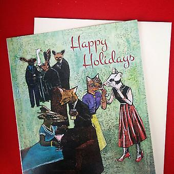 Happy Holidays Animal Party Card ou Card Set