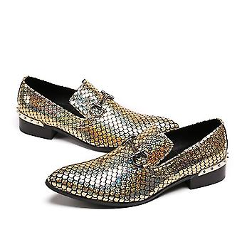 Men Loafers Fashion Leather Shinny Glitter Wedding Dress Shoes